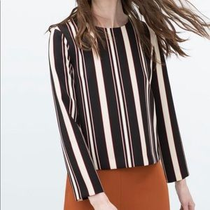 Zara Striped Long Sleeve Blouse Size Medium